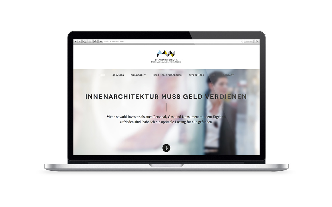 webdesign screen der internetseite von brand interiors