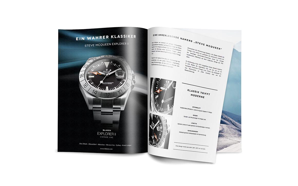 werbeanzeige im chronos magazin für luxusuhren veredler blaken watches