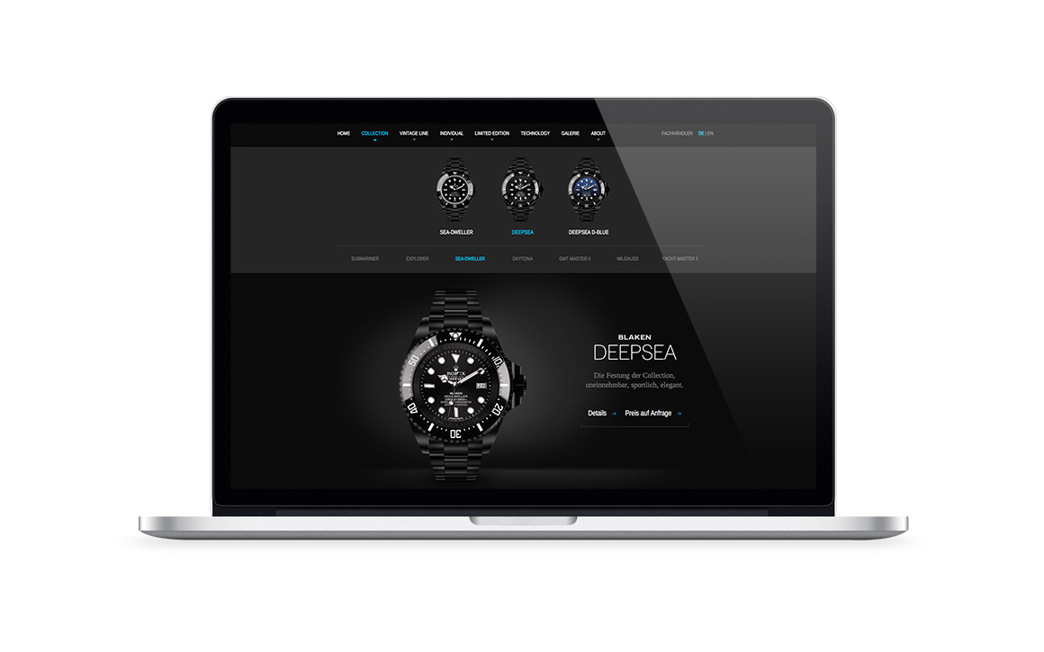 webdesign screen der webseite von luxusuhren blaken watches