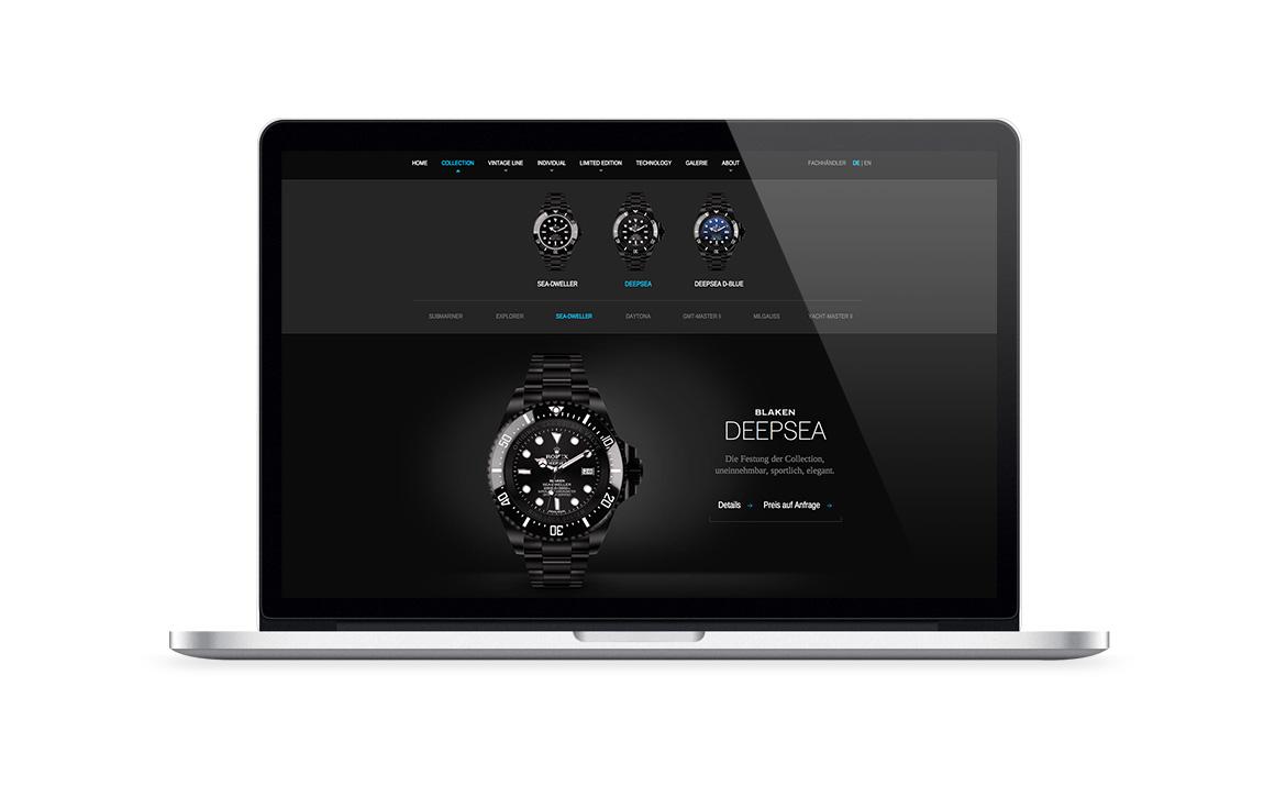 webdesign screen der webseite von luxusuhren veredler blaken watches