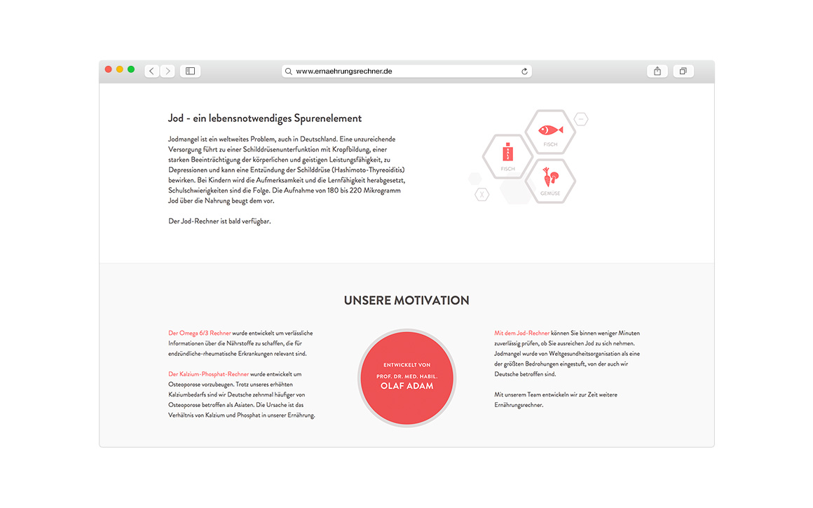 webdesign screen der internetseite ernaehrungsrechner.de