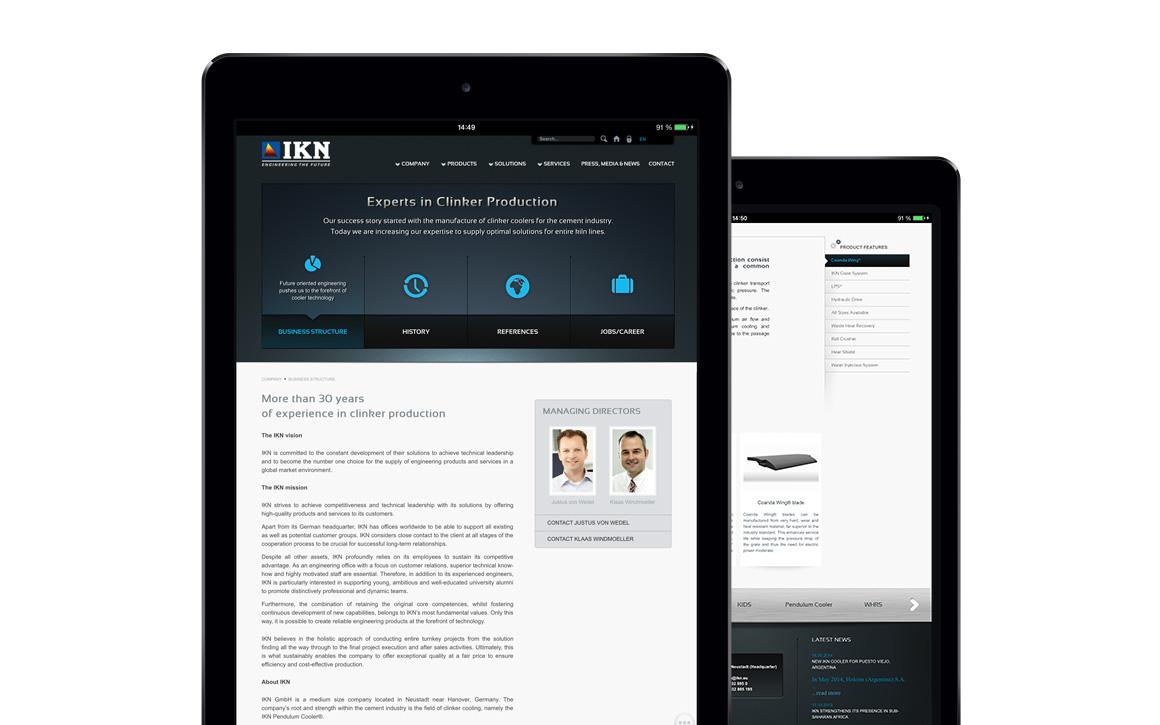 webdesign für die internetseite von ikn