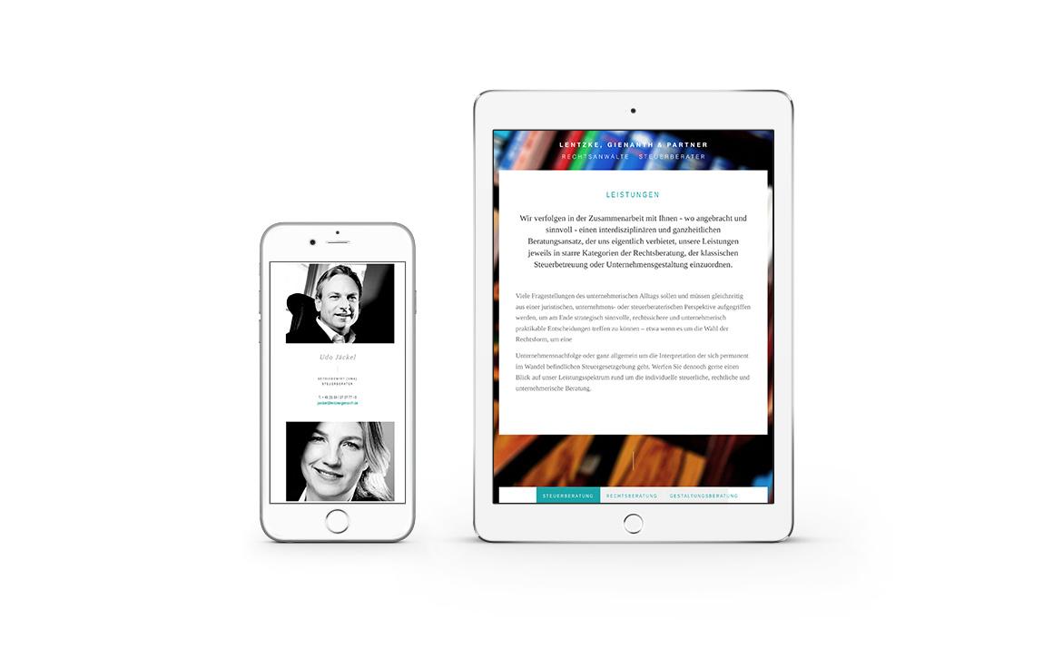 mobile ansicht der internetseite von lentzke, gienanth und partner
