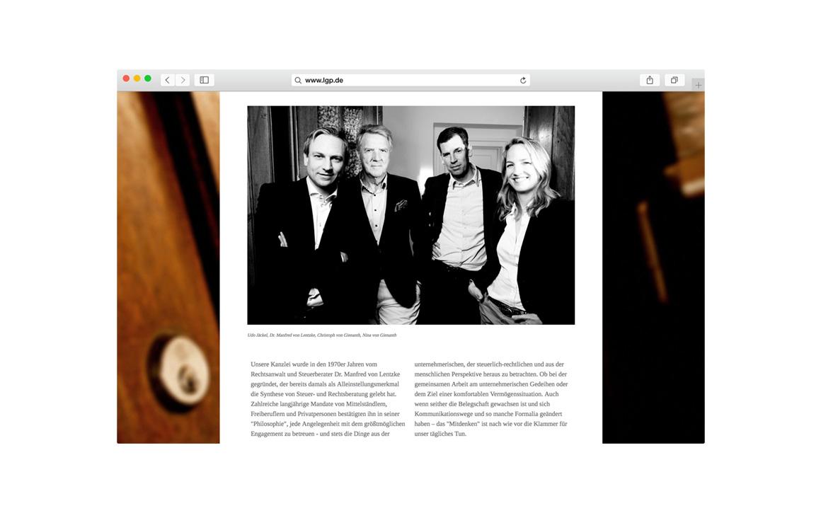 screenshot der homepage mit portrait fotografie von lentzke, gienanth und partner