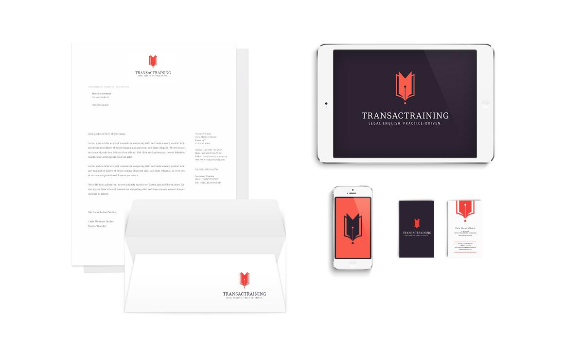 corporate design für das startup transactraining aus münchen