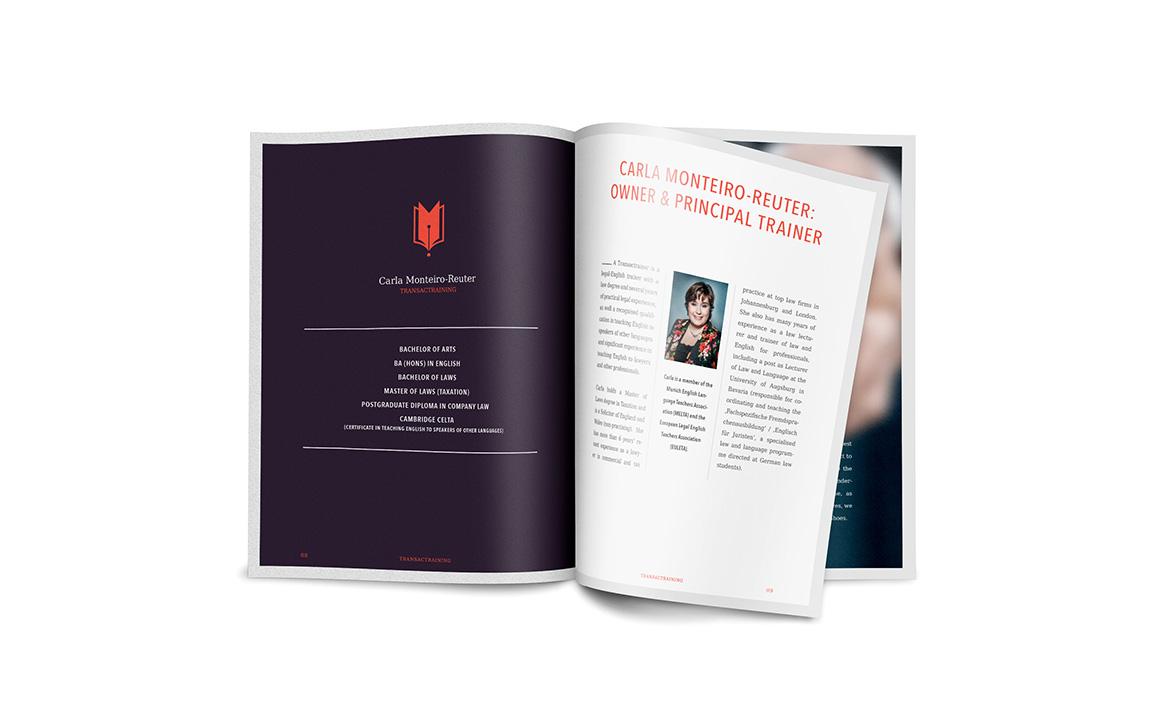 imagebroschüre für das startup transactraining aus münchen