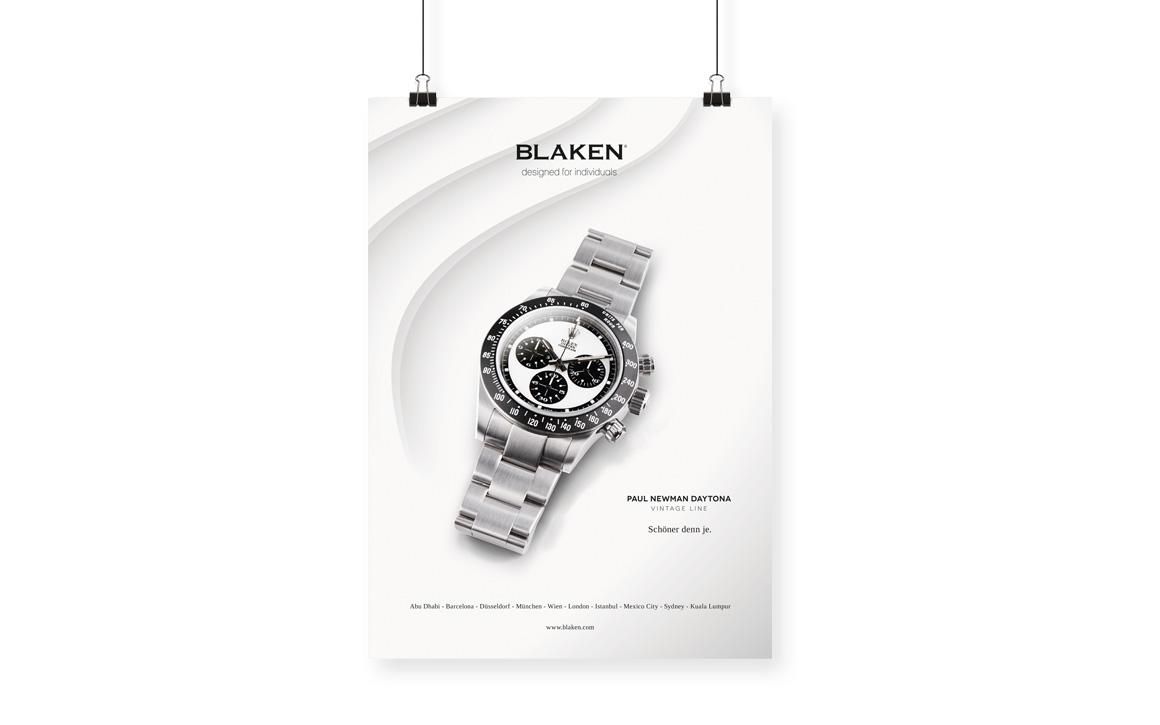 anzeige werbung für luxusuhren veredler blaken watches