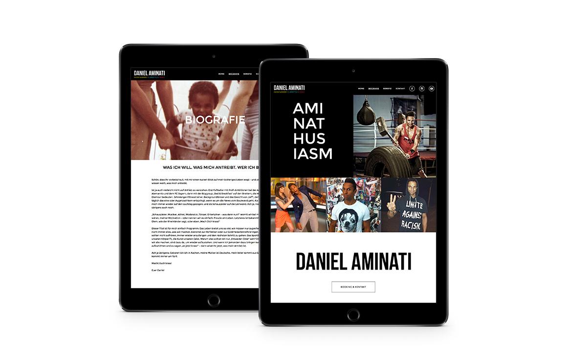 webdesign screen der webseite von daniel aminati
