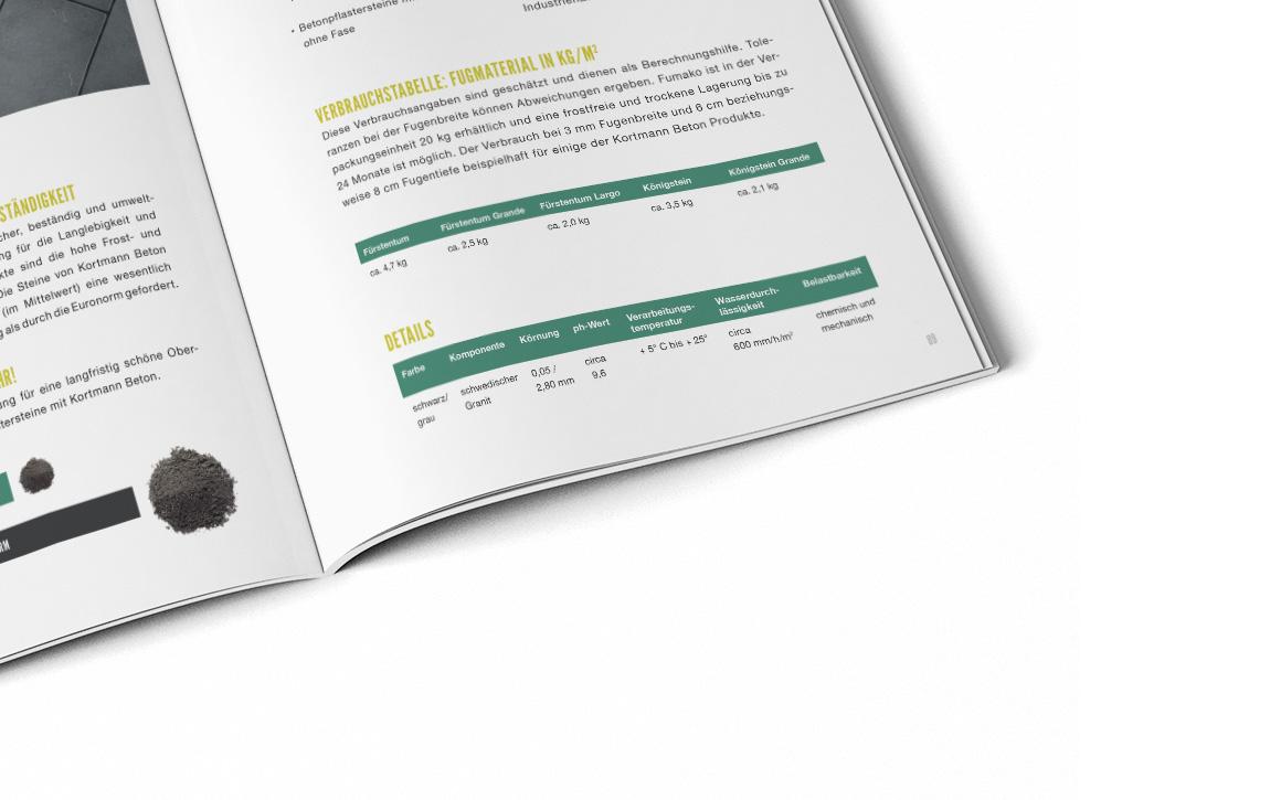 katalog design für kortmann beton