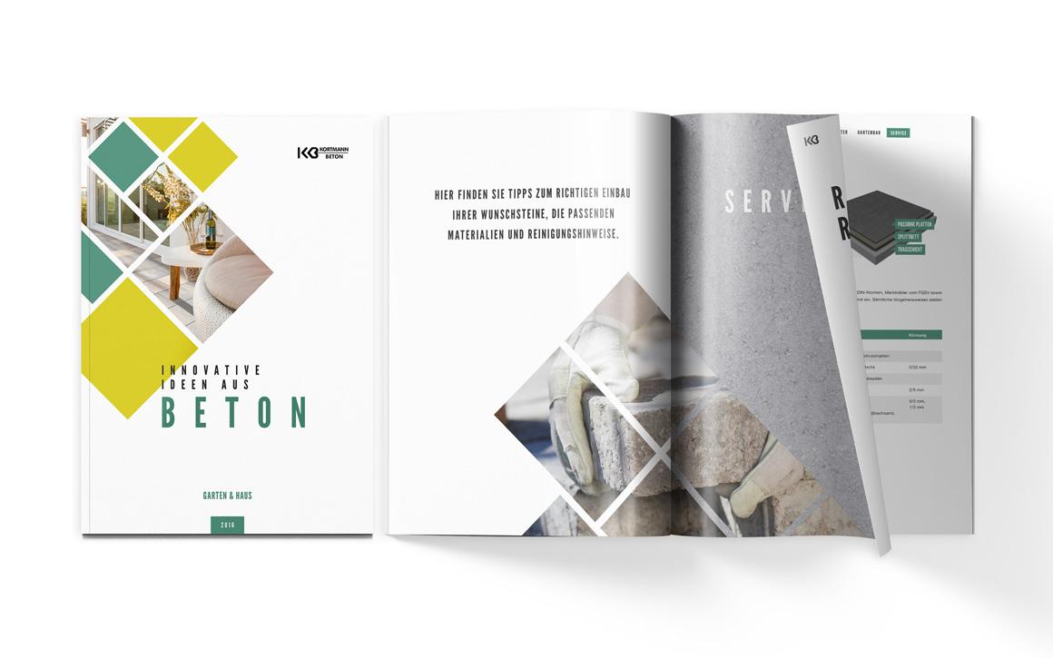 Design für den Produktkatalog Haus&garten für Kortmann Beton